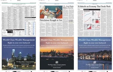 "The Bryn Mawr Trust Company print ads in The Wall Street Journal -- ""World-Class Wealth Management Right in your own backyard"" campaign"