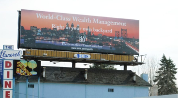 """The Bryn Mawr Trust Company Billboard 1 -- """"World-Class Wealth Management Right in your own backyard"""" campaign"""