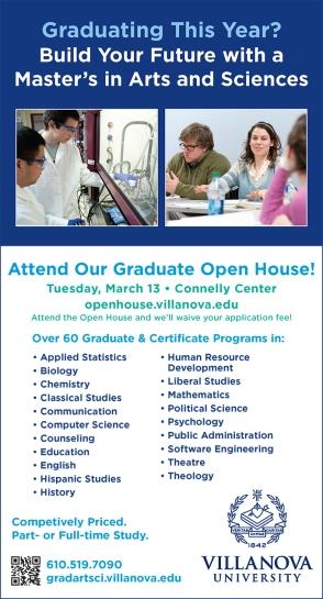 Villanova University Graduate Liberal Arts and Sciences Open House Print Ad